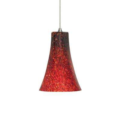 Led red pendant lights lighting the home depot mini indulgent 1 light satin nickel led mini pendant with red shade mozeypictures Images