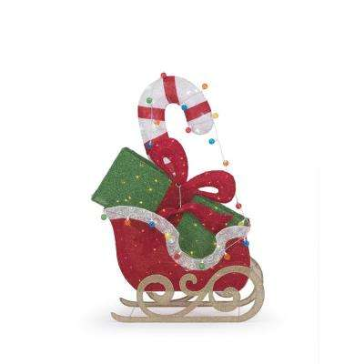 Toasty Tinsel 61 in. Christmas LED Sleigh with Gift and Candy Cane