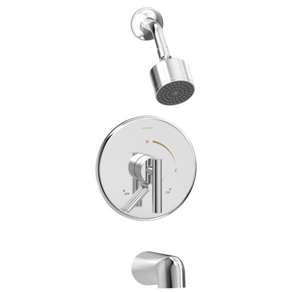 Dia Single Handle Wall-Mounted Tub and Shower Faucet Trim Kit in Polished Chrome - 1.5 GPM (Valve not Included)