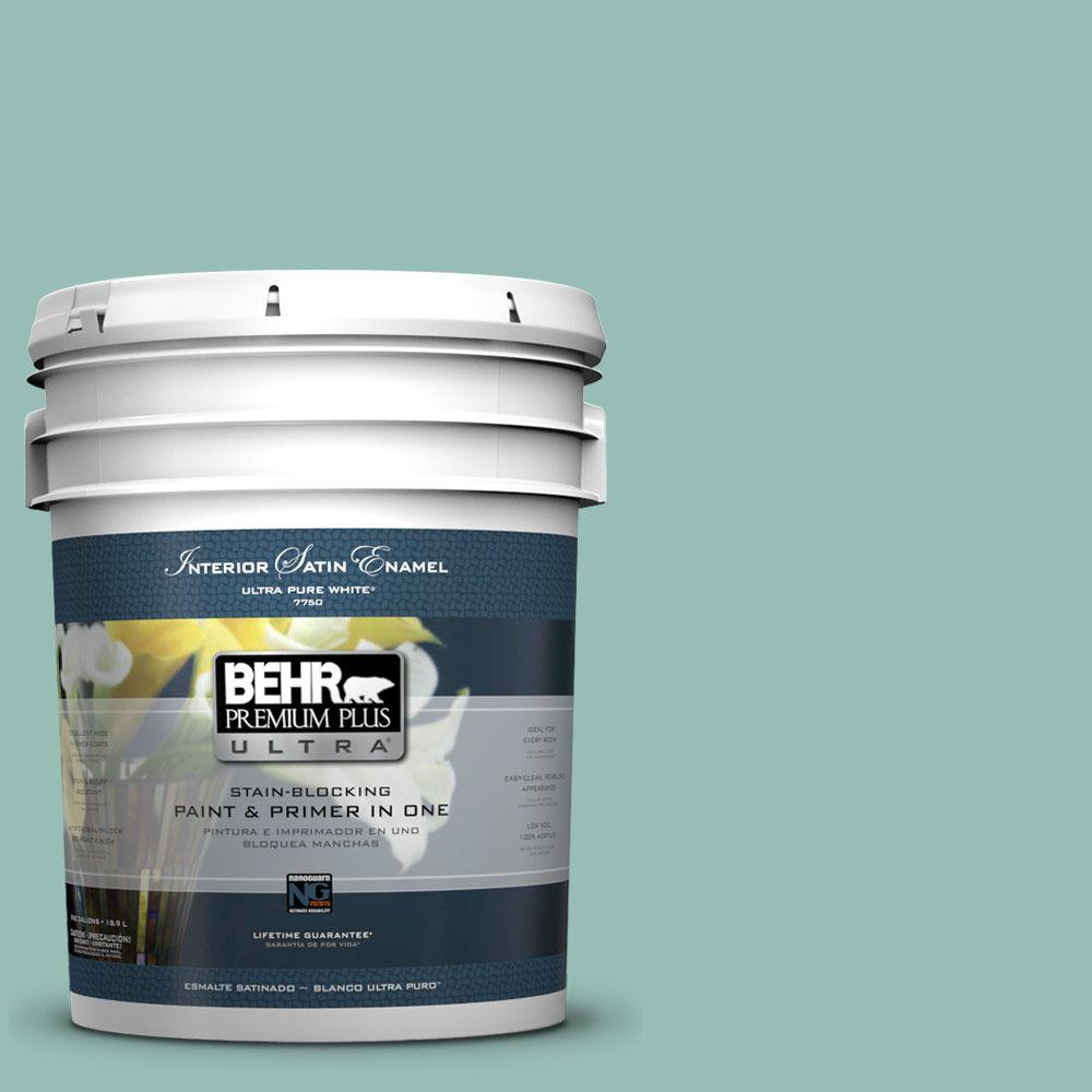 BEHR Premium Plus Ultra 5 gal. #PPU12-8 Opal Silk Satin Enamel Interior Paint and Primer in One