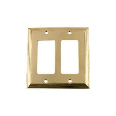 Deco Switch Plate with Double Rocker in Unlacquered Brass