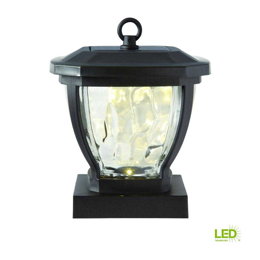 Hampton Bay Solar Bronze Outdoor Integrated Led Deck Post Light With Water Gl Lens 2
