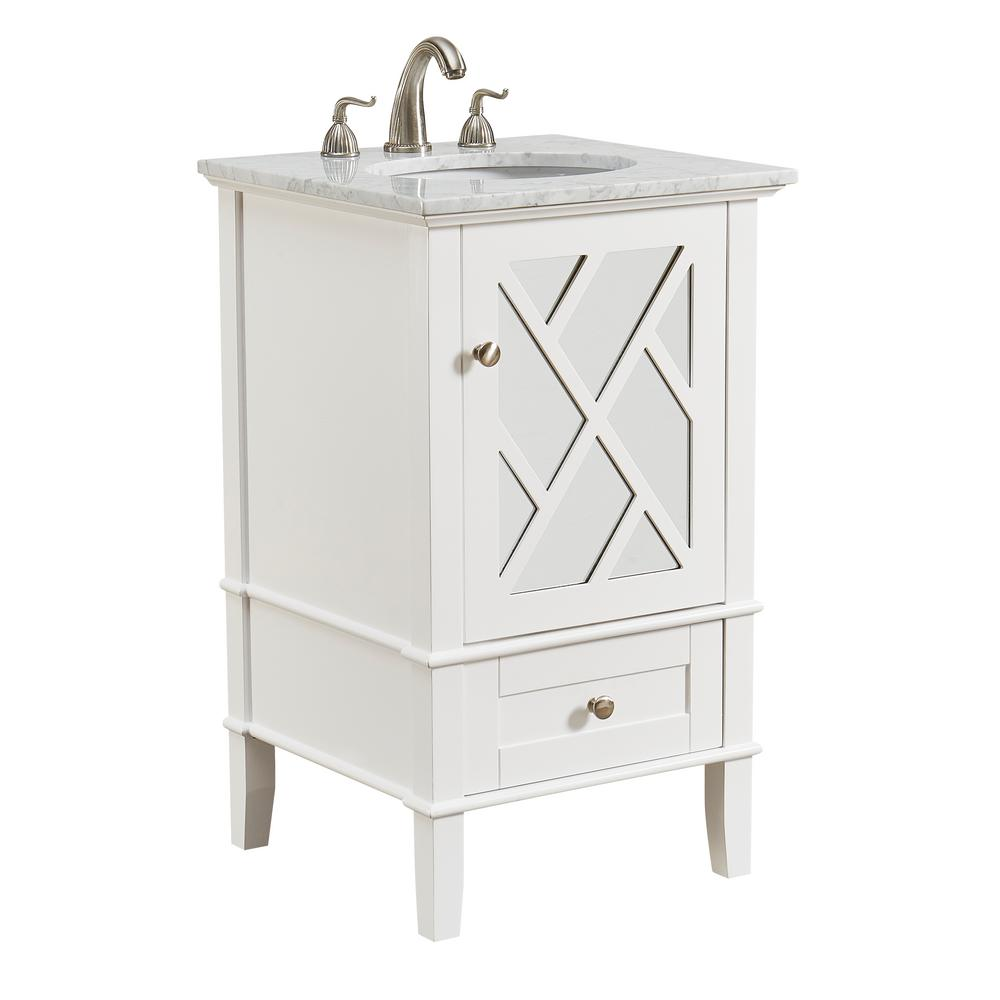 Knollwood 21 in. Single Bathroom Vanity with 1-Drawer 1-Shelf 1-Door Marble Top Porcelain Sink in White Finish