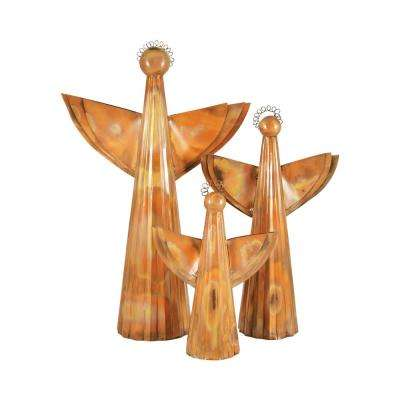 20 in., 16 in. and 11 in. Iron In Burned Copper Decorative Choir Angels (Set Of 3)