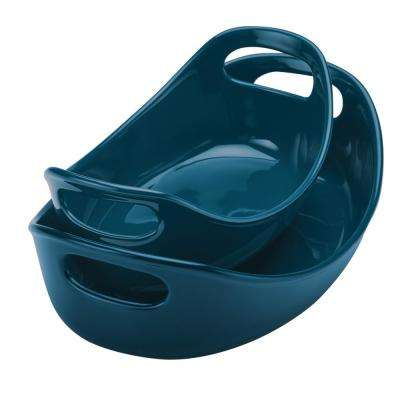Ceramics 2-Piece Marine Blue Bubble and Brown Oval Baker Set