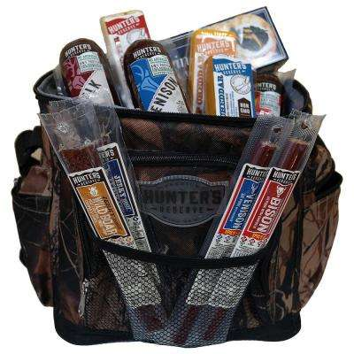 Crowded Cooler, 12-can Camo Cooler with Cheese, Wild Game Summer Sausages, Meat Sticks and Jerky, and  Box of Crackers