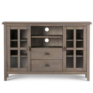 Simpli Home Artisan Distressed Grey 53 In Tall Tv Media Stand