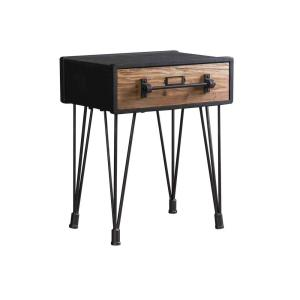 Grey Wood End Table with Drawer by