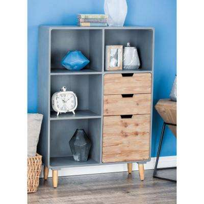 33 in. x 48 in. Rustic Wooden Storage Shelf in Gray and Brown