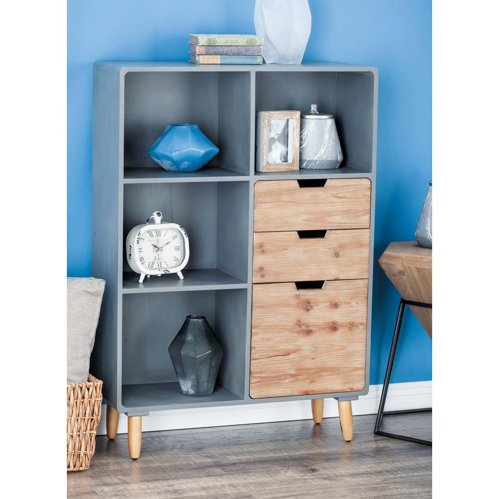 33 in. x 48 in. Rustic Wooden Storage Shelf in Gray