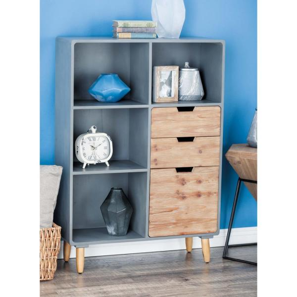 Litton Lane 33 in. x 48 in. Rustic Wooden Storage Shelf in Gray and Brown
