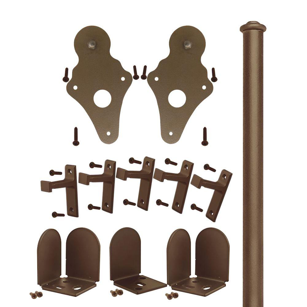 Quiet Glide 1-1/2 in. - 2-1/4 in. Ice Cream Cone Oil Rubbed Bronze Rolling Door Hardware Kit