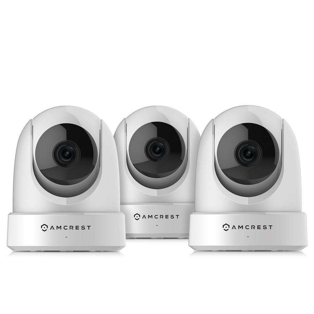 Amcrest 4MP UltraHD Indoor Wi-Fi Wireless Security IP Surveillance Camera  Pan/Tilt, White (3-Pack)