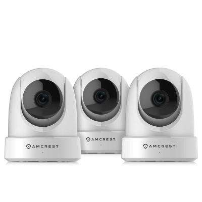 4MP UltraHD Indoor Wi-Fi Camera Security IP Camera with Pan/Tilt, Night Vision, Motion Detection, White (3-Pack)