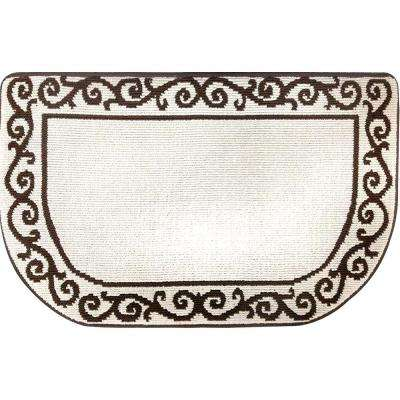 Kitchen Plush Step Slice Scroll Beige/Brown 19.7 in. x 31.5 in. Memory Foam Mat