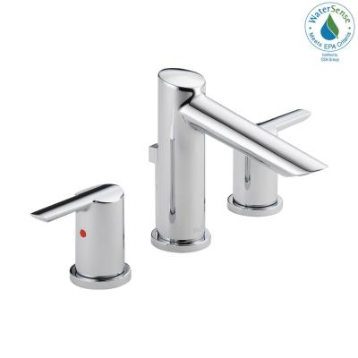 Compel 8 in. Widespread 2-Handle Bathroom Faucet with Metal Drain Assembly in Chrome