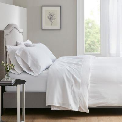 700 Thread Count 4-Piece White Cotton Blend King Anti-Microbial Sheet Set
