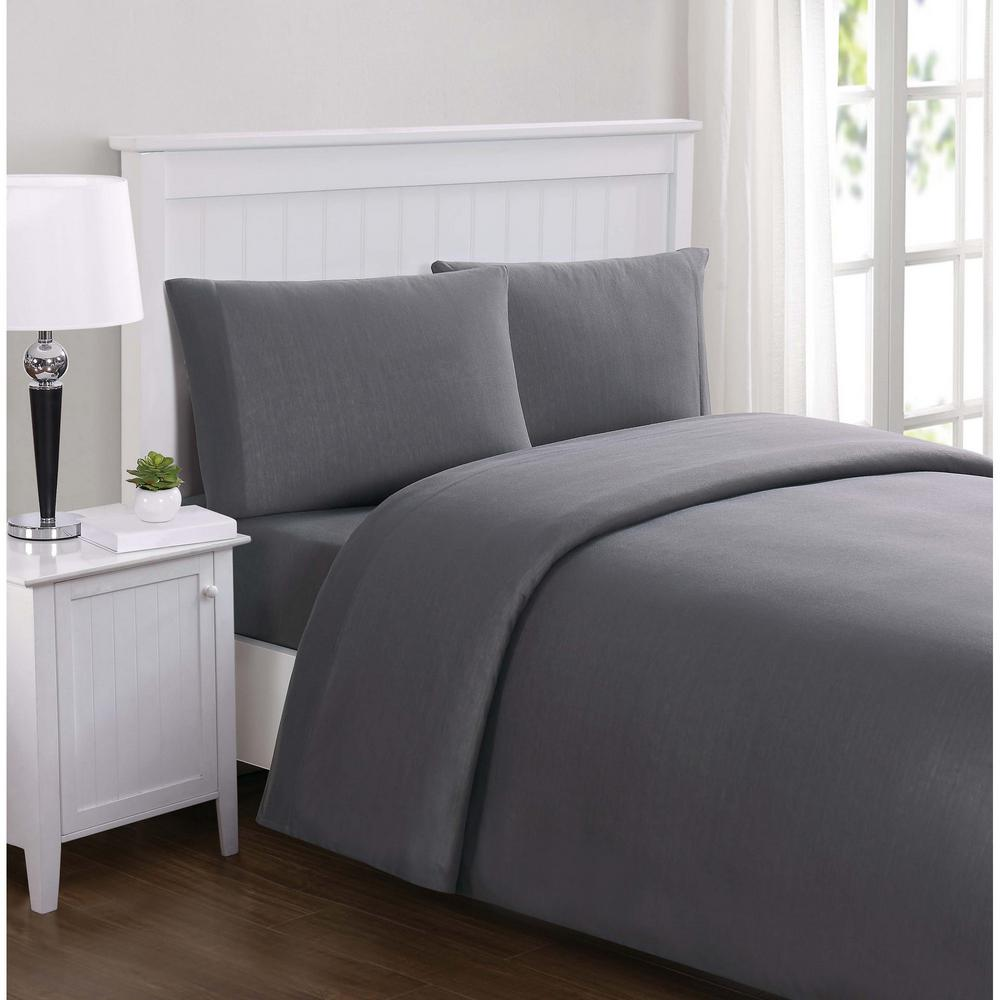 Truly Soft Everyday Solid Jersey Charcoal Twin Sheet Set