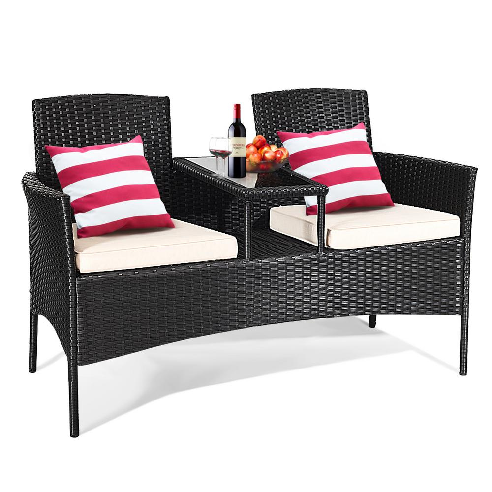 1-Piece Wicker Rattan Patio Conversation Set Loveseat Sofa Table and Chairs with White Cushions