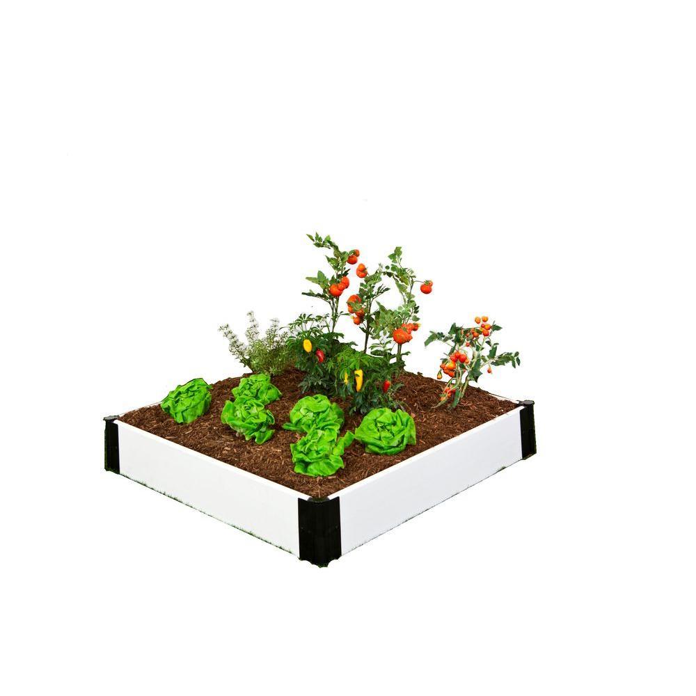Frame It All 4 ft. x 4 ft. x 8 in. White Composite Raised Garden Bed Kit