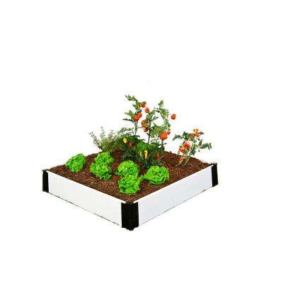 4 ft. x 4 ft. x 8 in. White Composite Raised Garden Bed Kit