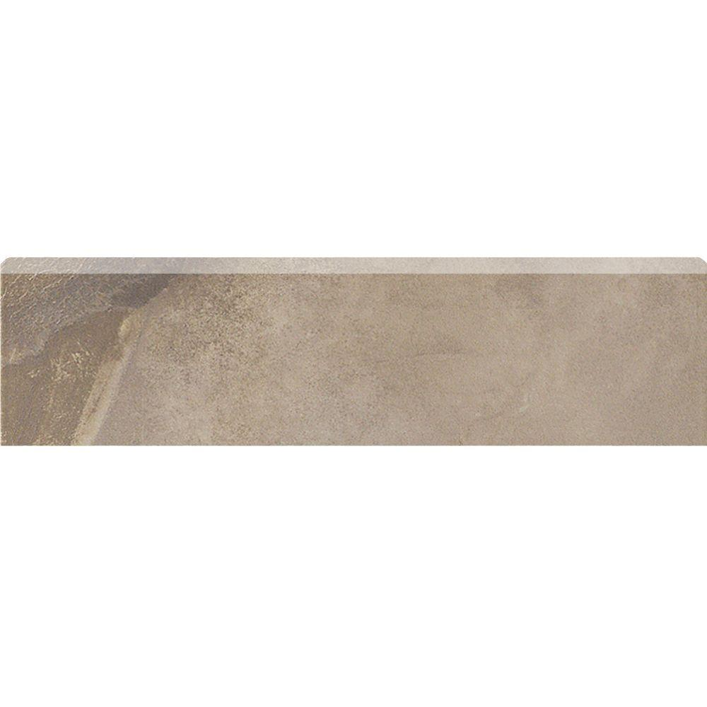 MARAZZI Jade 3 in. x 13 in. Taupe Porcelain Bullnose Floor and Wall Trim Tile