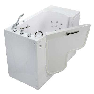 Transfer 52 in. Acrylic Walk-In Whirlpool Bathtub in White with Thermostatic Faucet Set Heated Seat LH 2 in. Dual Drain