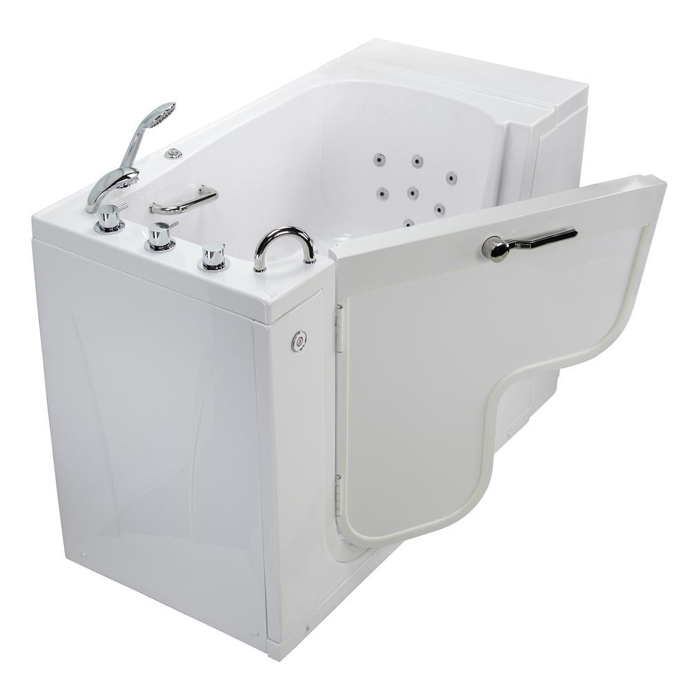 Wheelchair Transfer 52 in. Acrylic Walk-In MicroBubble Air Bath Bathtub in White, Faucet, Heated Seat, Left Dual Drain