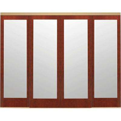 144 in. x 80 in. Mir-Mel Mirror Cherry Solid Core MDF Interior Closet Sliding Door with Gold Trim