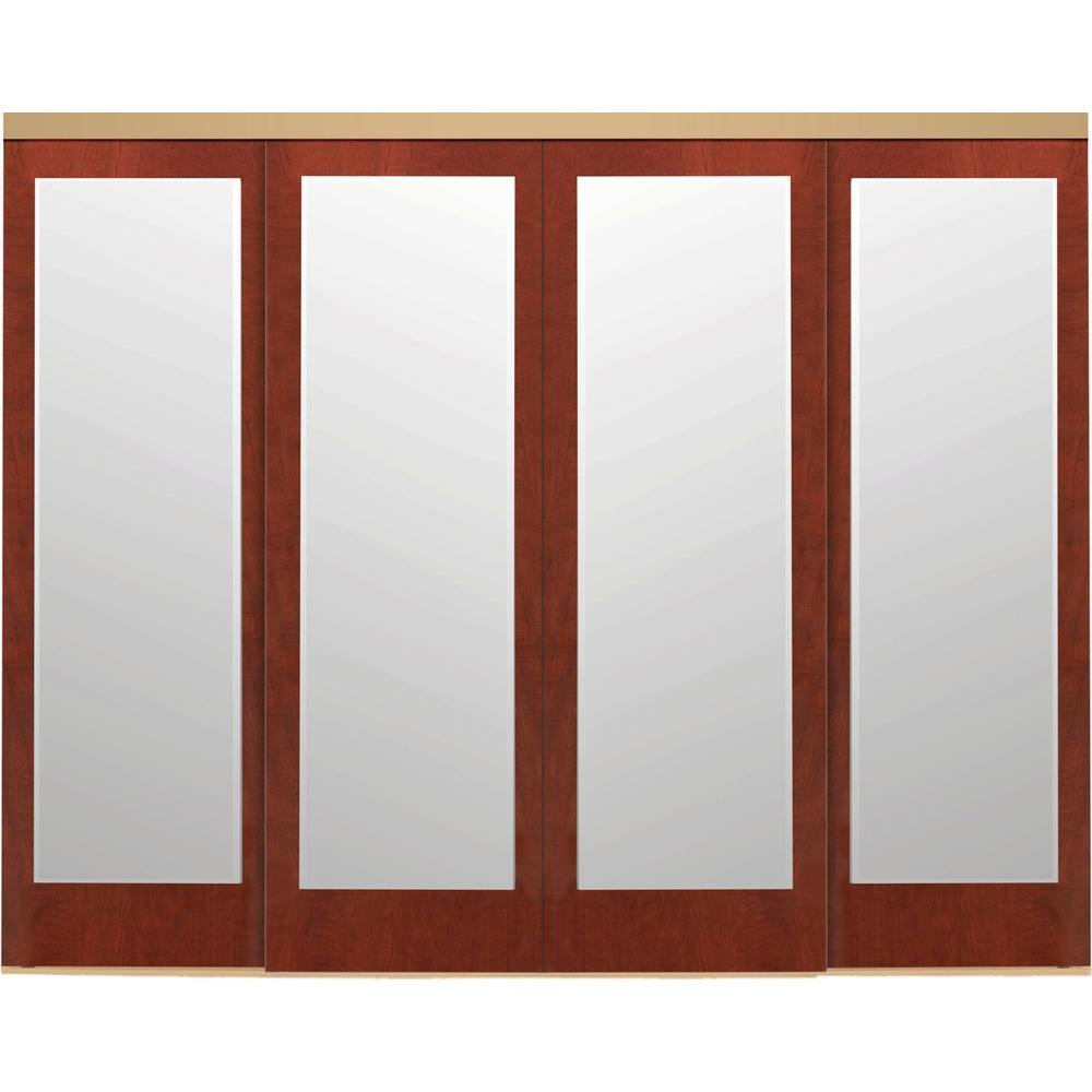 144 in. x 84 in. Mir-Mel Mirror Cherry Solid Core MDF Interior Closet Sliding Door with Gold Trim
