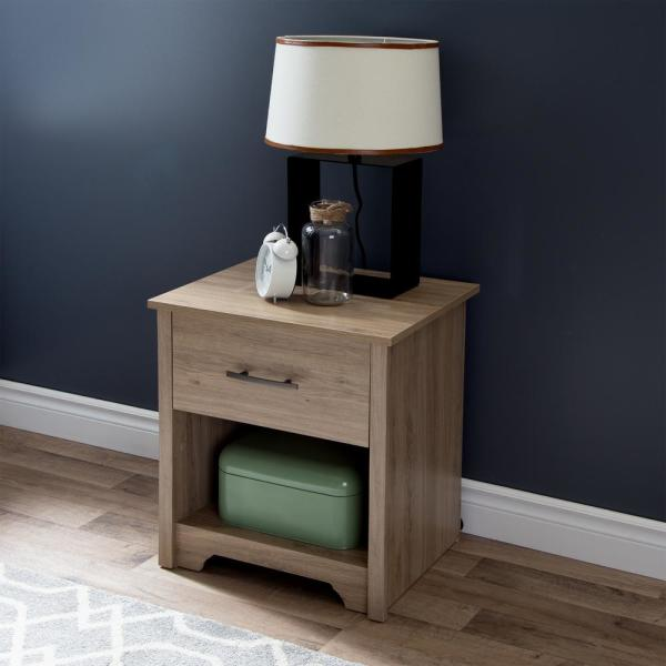 South Shore Fusion 1-Drawer Rustic Oak Nightstand 9063062
