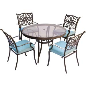 Hanover Traditions 5-Piece Aluminum Outdoor Dining Set with Round Glass-Top Table with Blue Cushions by Hanover
