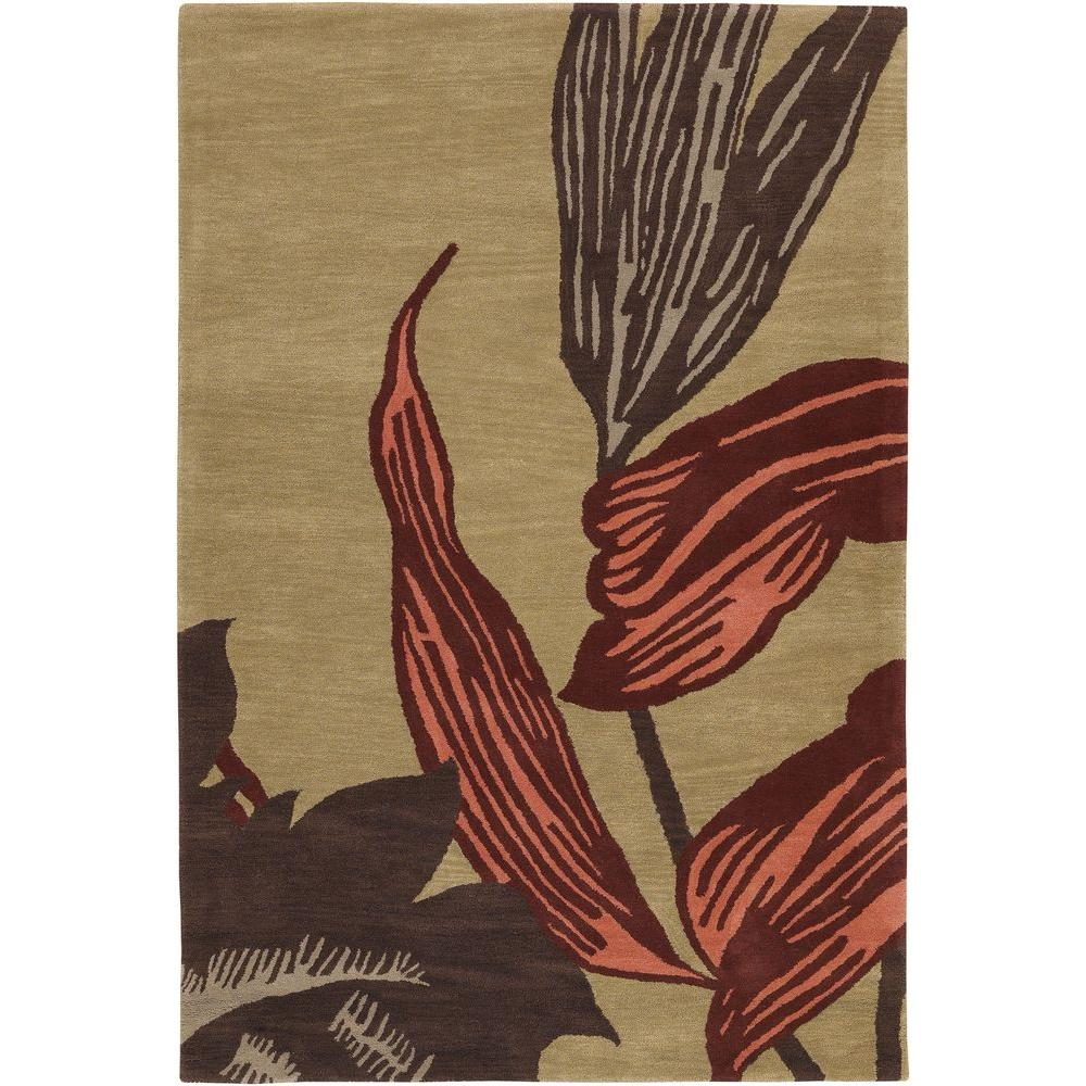 Chandra Aschera Gold/Red 7 ft. 9 in. x 10 ft. 6 in. Area Rug