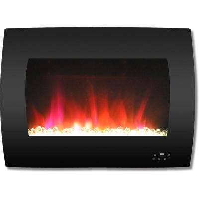 26 in. Curved Wall-Mount Electric Fireplace in Black with Multi-Color Flames and Crystal Rock Display