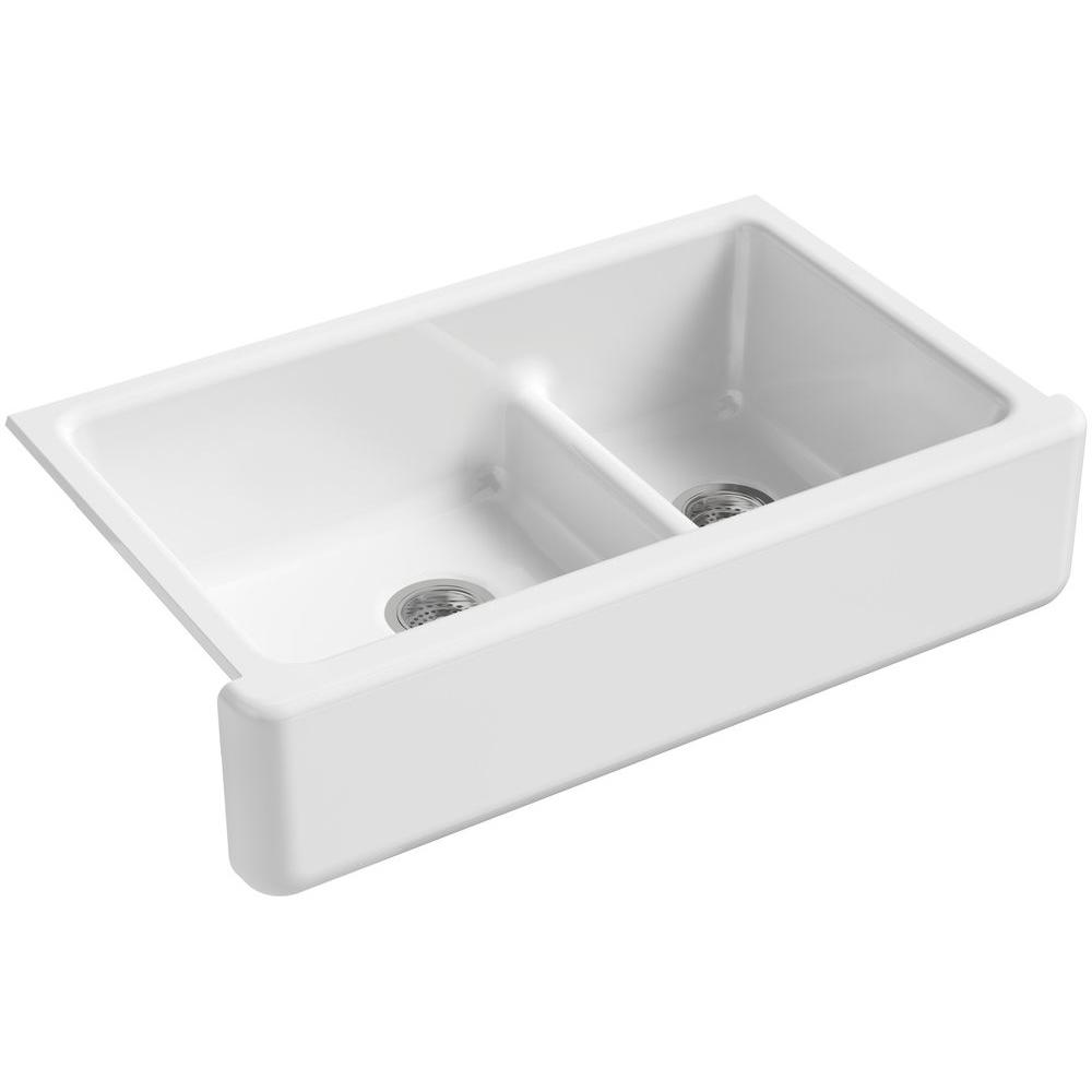 KOHLER Whitehaven Smart Divide Undermount Farmhouse Apron-Front Cast Iron 36 in. Double Basin Kitchen Sink in White