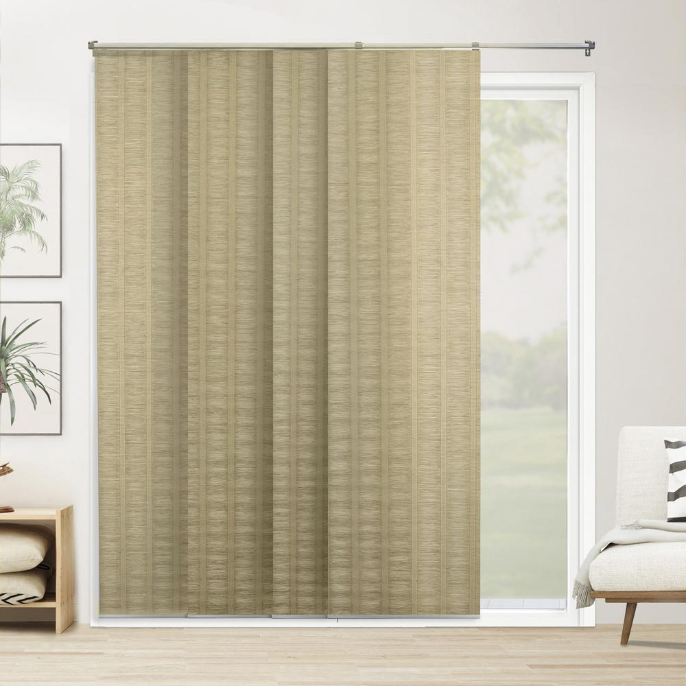Chicology Panel Track Blinds Provence Maple    Cordless Light Filtering Adjustable with 22 in Slats Up to 80 in. W x 96 in L