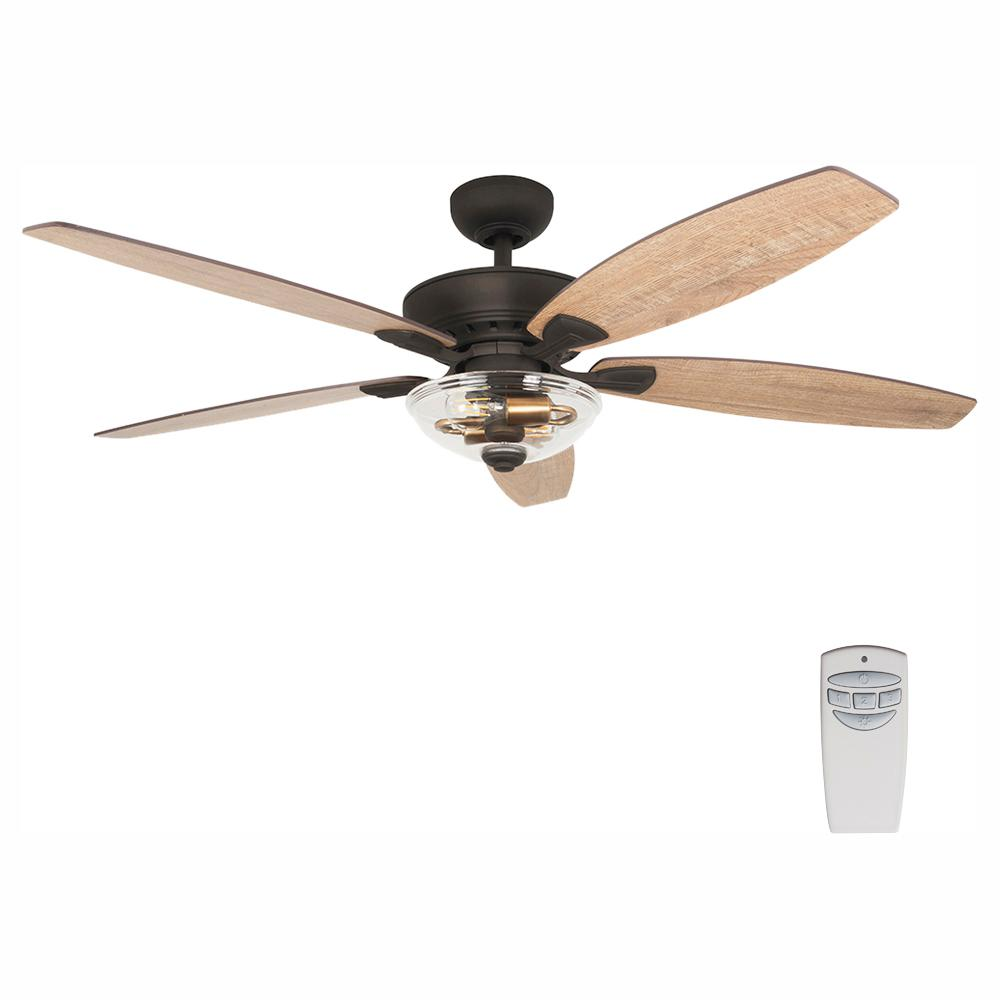 Home Decorators Collection Connor 54 in. LED Seville Bronze Dual-Mount Ceiling Fan with Light Kit and Remote Control