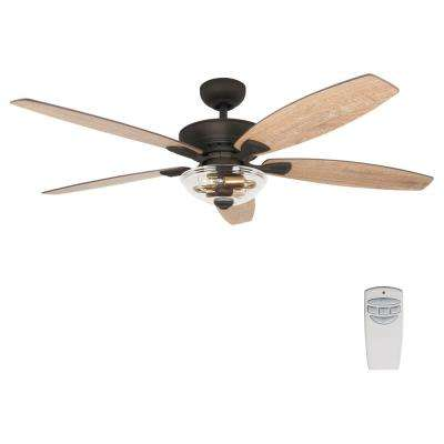 Connor 54 in. LED Seville Bronze Dual-Mount Ceiling Fan with Light Kit and Remote Control