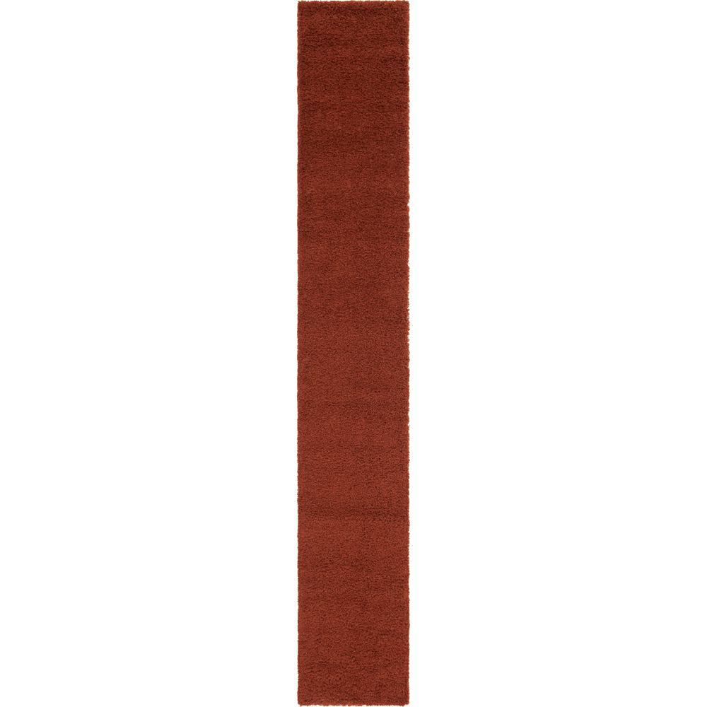 Solid Shag Terracotta 16 ft. Runner Rug