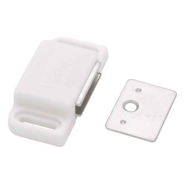 2 in. White Heavy Duty Magnetic Door Catch with Strike