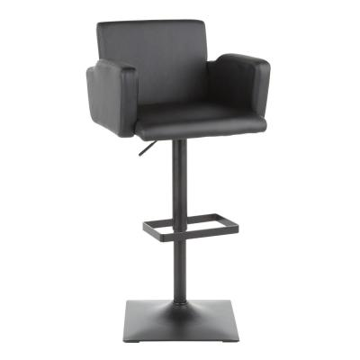 Sergio Adjustable Height Bar Stool in Black Faux Leather