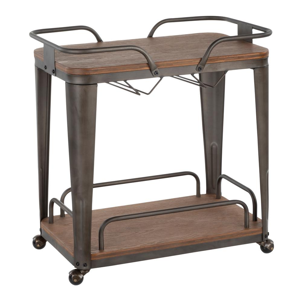 Oregon Antique Metal and Espresso Wood Bar Cart