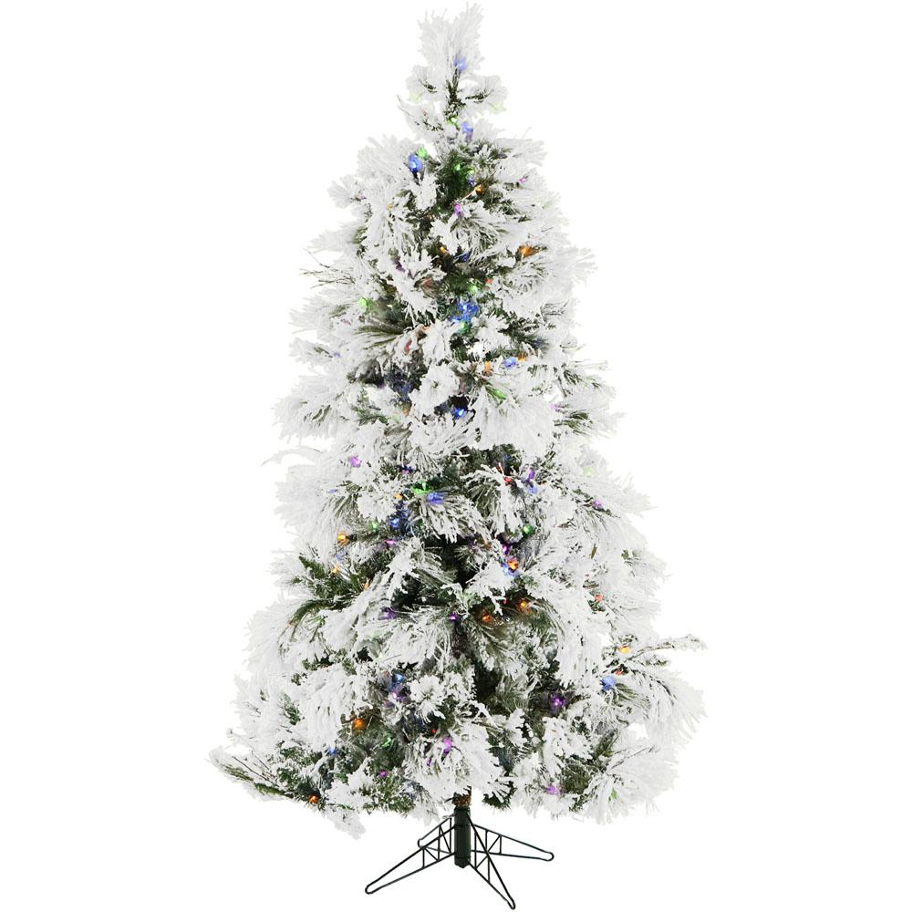 Christmas Time 6.5 ft. Frosted Fir Snowy Artificial Christmas Tree with  Multi-Color LED String Lighting and Holiday Soundtrack