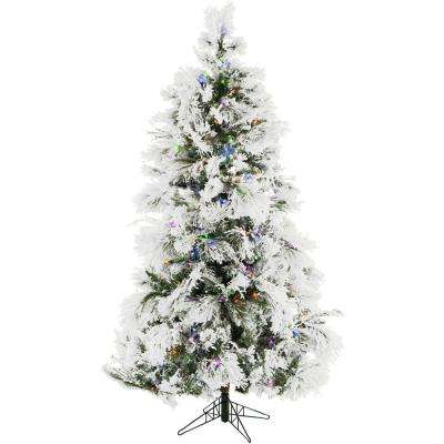 6.5 ft. Frosted Fir Snowy Artificial Christmas Tree with Multi-Color LED String Lighting and Holiday Soundtrack