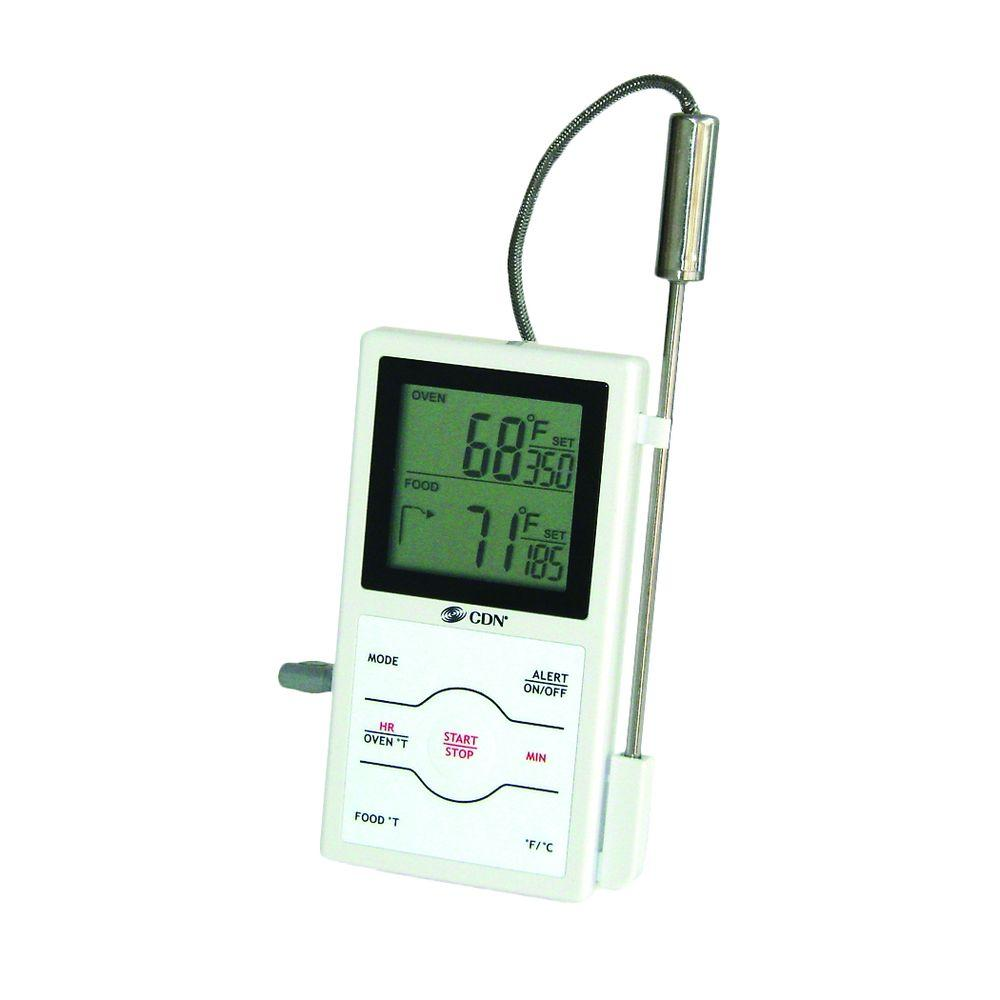 White Digital Food Thermometer with Timer