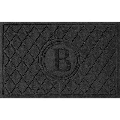 Argyle Charcoal 24 in. x 36 in. Monogram B Door Mat