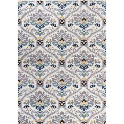 Electro Darling Floral Gold 8 ft. x 10 ft. Modern Area Rug