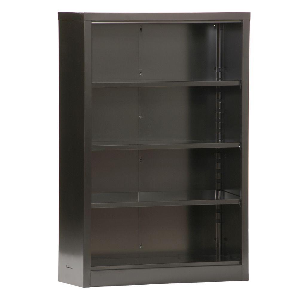 52 in. Black Metal 4-shelf Standard Bookcase with Adjustable Shelves