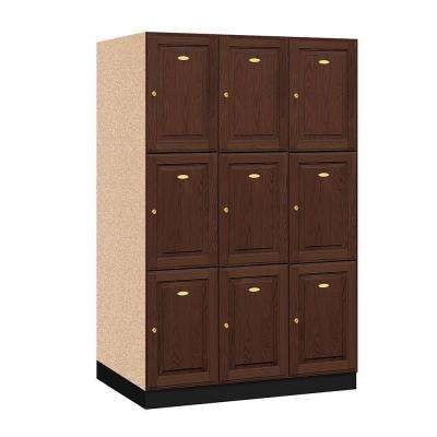 13000 Series Triple Tier 24 in. D 9-Compartments Solid Oak Executive Locker in Dark Oak