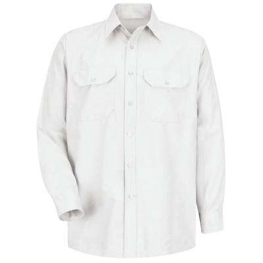 Men's Size 2XL x 36/37 White Solid Dress Uniform Shirt